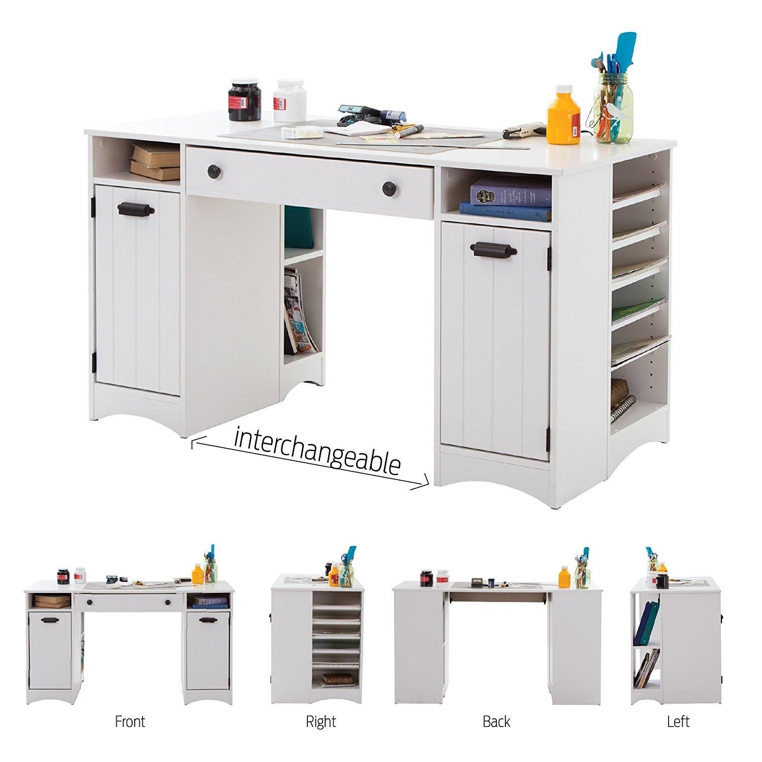 Artwork Craft Table With Storage Large Work Surface Multiple Storage Spaces Pure White By Craft Tables With Storage Desk Storage Craft Table