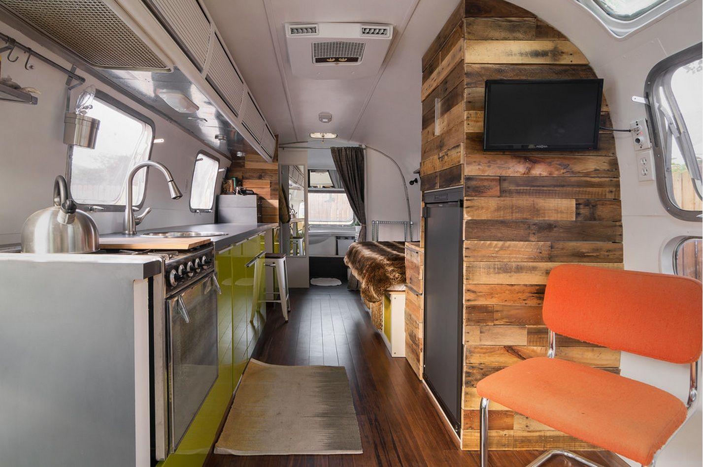 Interior of Refurbished Airstream Airstream Decor, Airstream Remodel,  Airstream Trailers, Airstream Bathroom,