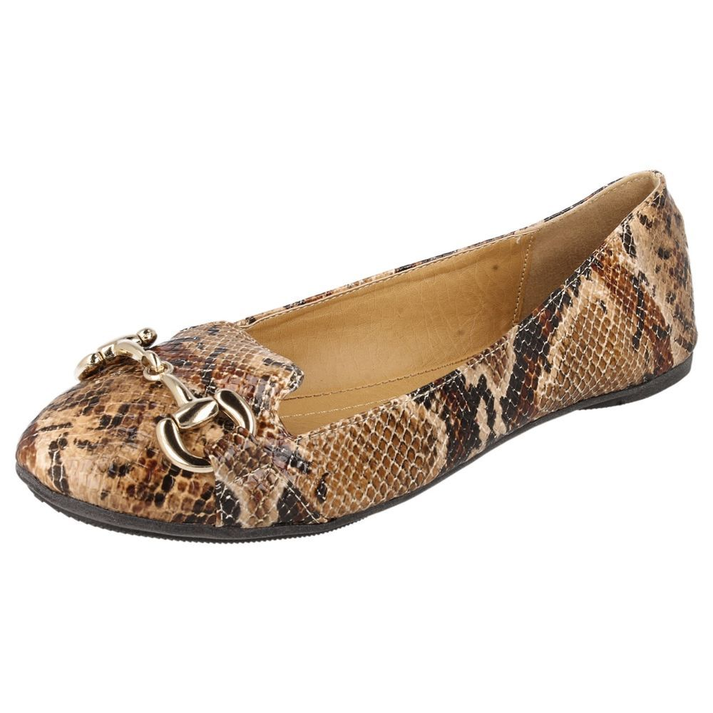Ladies Spot On Synthetic Slip On Flat Shoes