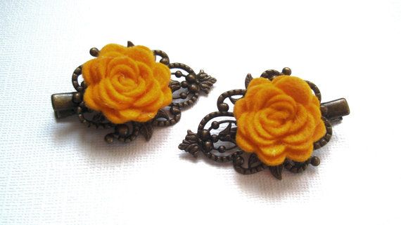 Antique Bronze Filigree Hair Clips Wool Felted by BellaTresses