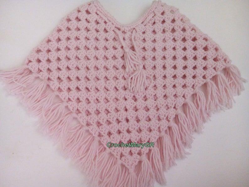 crocheted poncho - poncho kids - Handmade - boho poncho - granny square poncho - fringe poncho - crochet child - Kids clothes #crochetponchokids