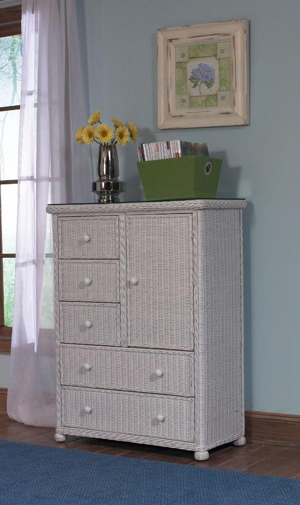 5 Drawer 1 Door Wicker Chest - Elana | bedroom | Wicker bedroom ...