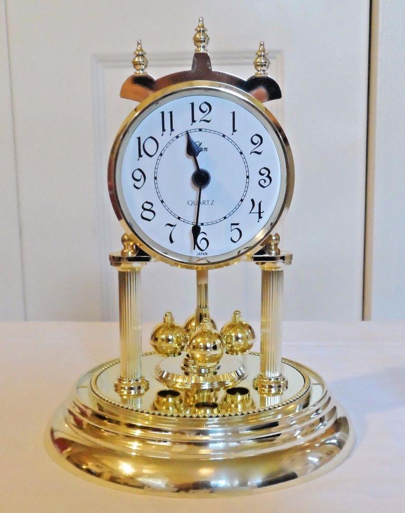 "Elgin Quartz Anniversary 9""  Rotating Pendulum Battery Operated Dome Clock Works #ElginQuartzAnniversary"