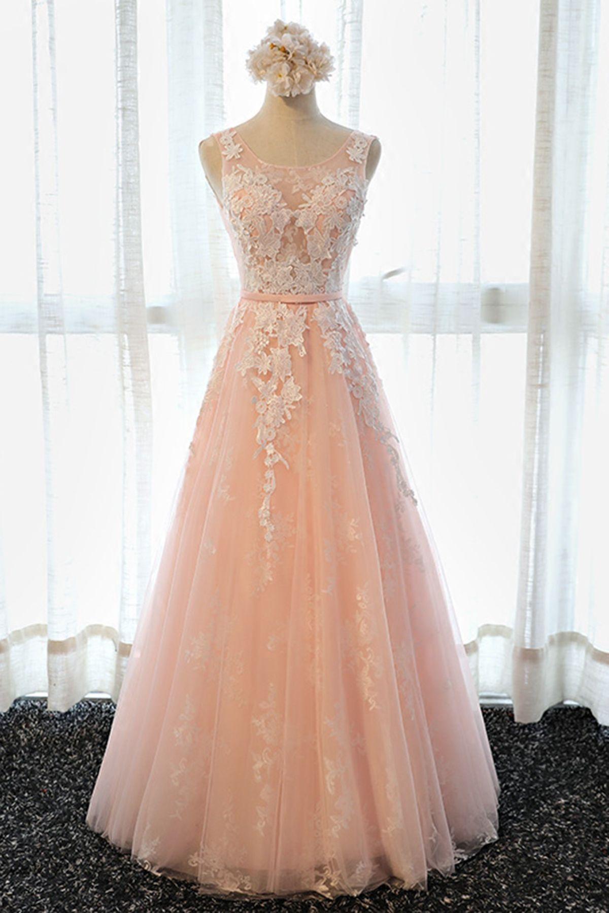 34fcdb86c5e Simple pink lace long senior prom dress