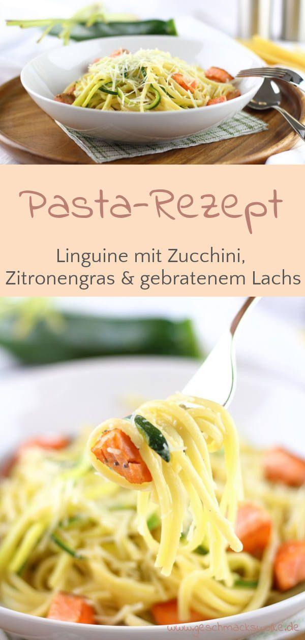 Linguine mit Zucchini & gebratenem Lachs
