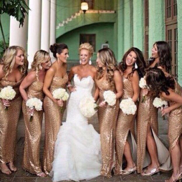 b18337380b Gold bridesmaids dresses