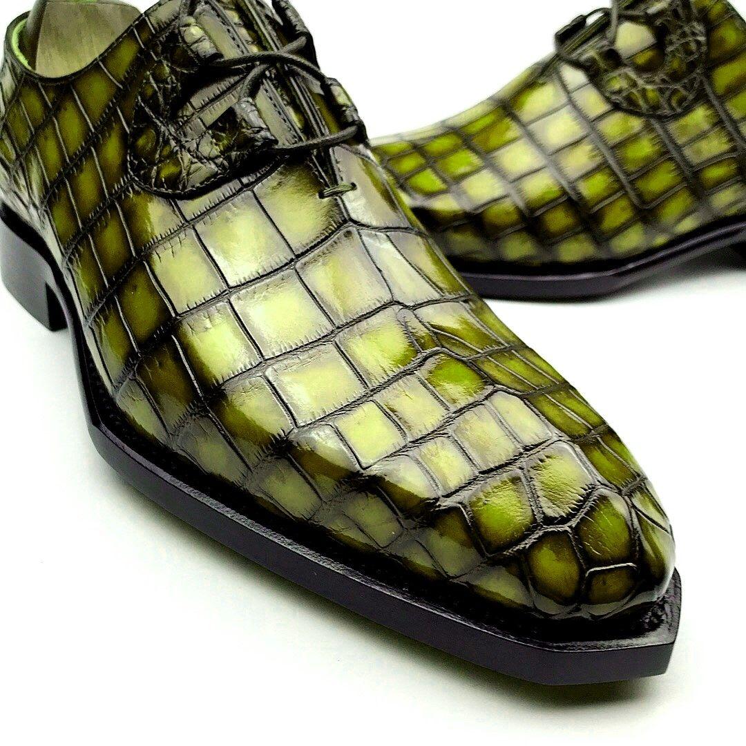 Green alligator skin shoes for sale