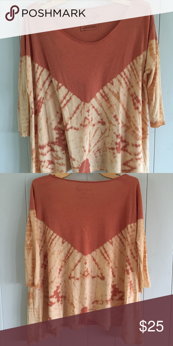 e37516ab31db2 Free People Tie die shirt Free people off the shoulder 3 4 sleeve with a  asymmetrical hemline Rust and cream shirt lightly worn.
