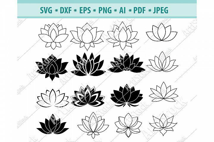 Lotus svg lotus clipart lotus flower svg dxf png eps