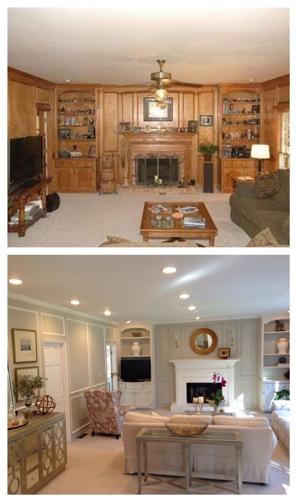 Panelled Room: Living Room Before And After. Paneling Painted, Updated