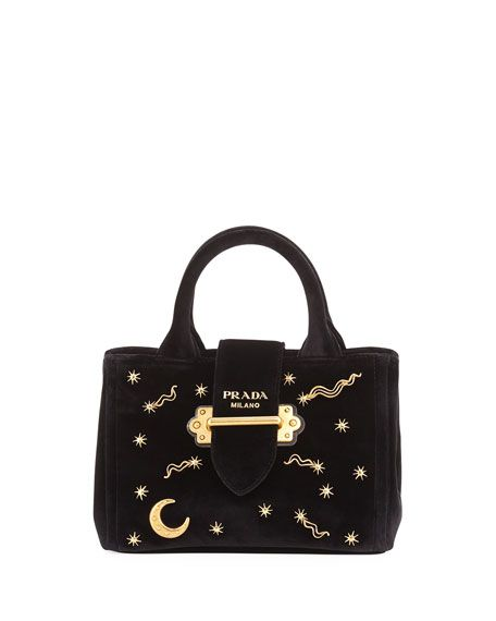 34f397bbfc16 ... italy prada small velvet moon star crossbody tote bag black nero. prada  bags shoulder bags