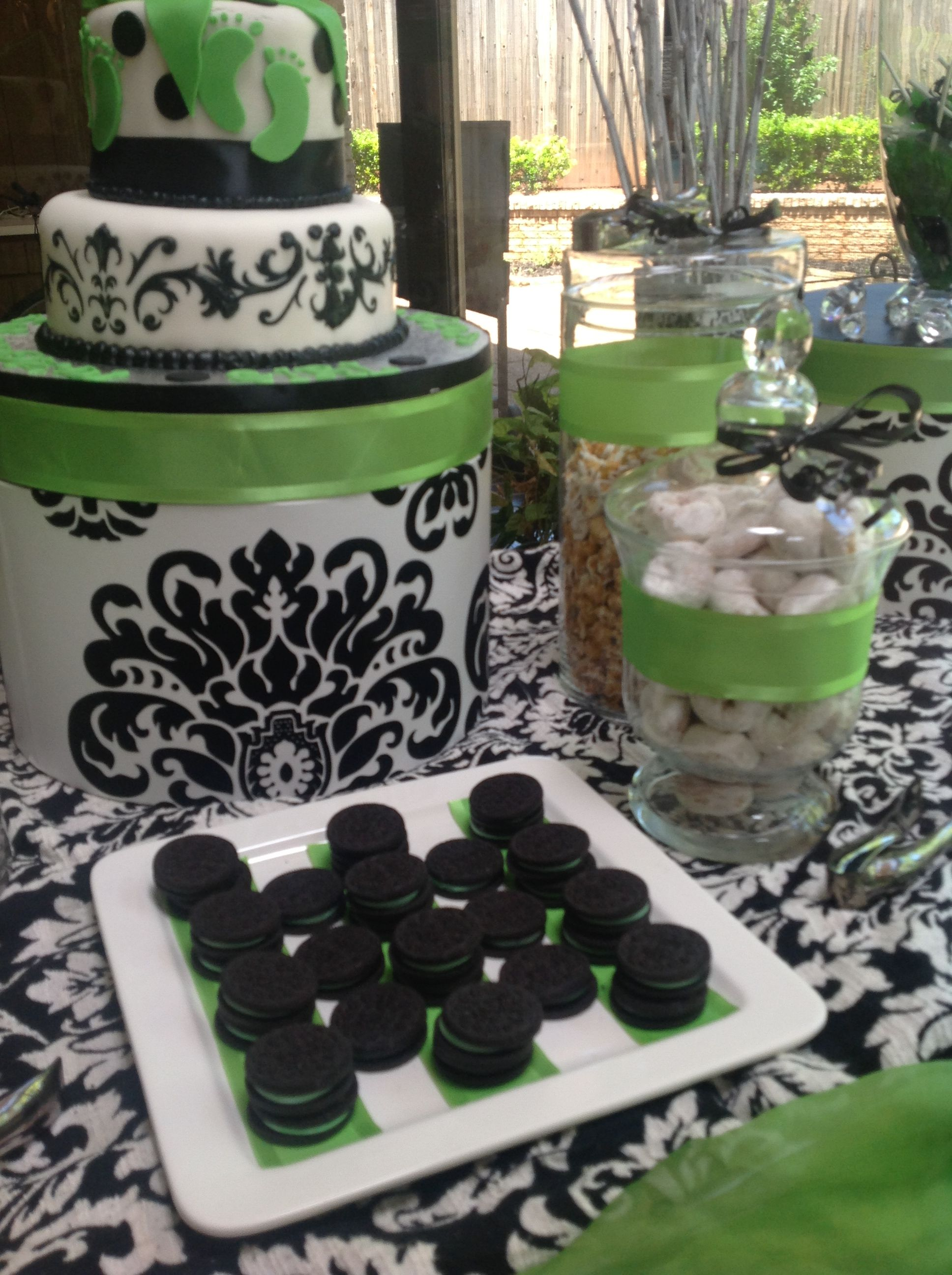 Lime Green, Black & White Damask Candy And Dessert Buffet