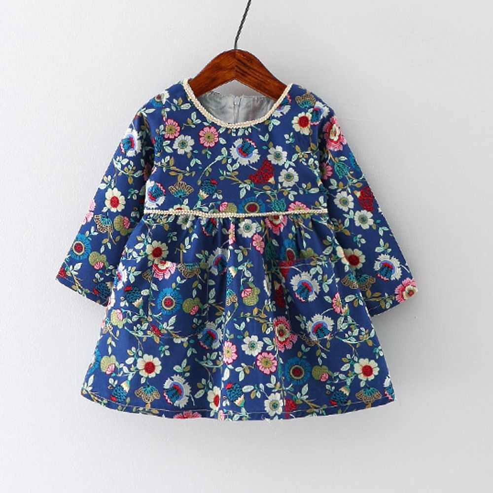 Find More Dresses Information about Navy Floral Baby Dress Baby