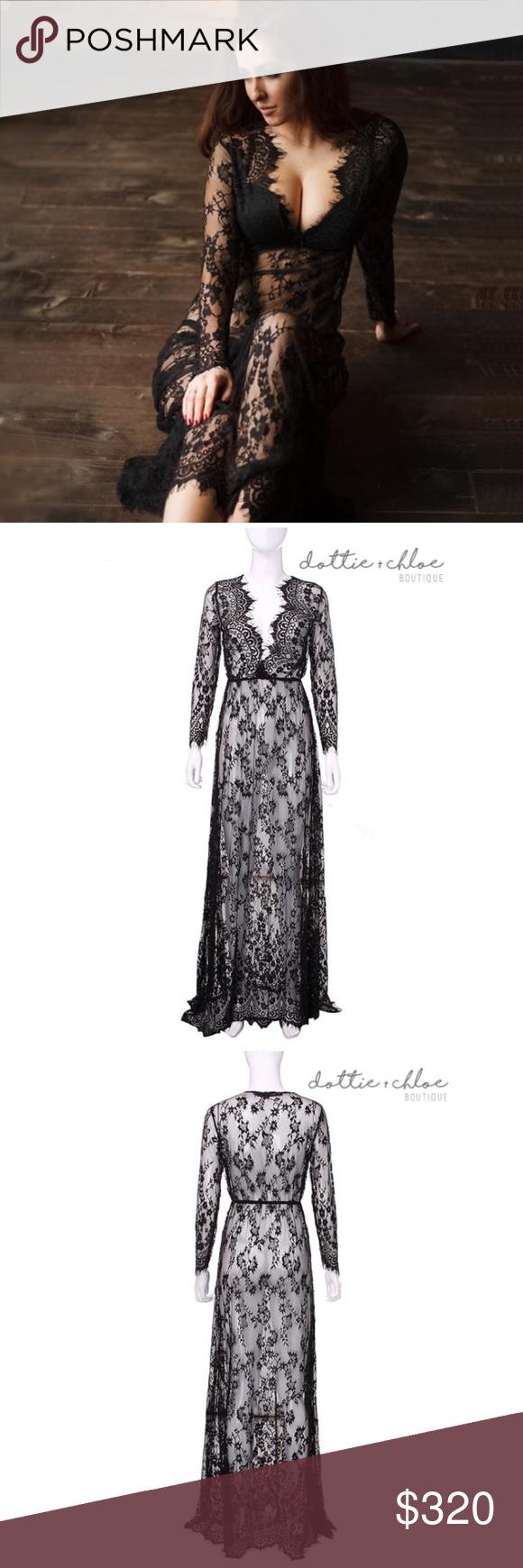 Black lace maxi dress cover up boutique chloe dress lace