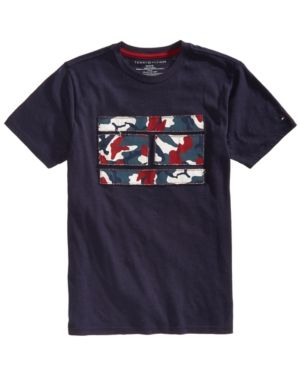 4dc753340284b Tommy Hilfiger Big Boys Graphic-Print Cotton T-Shirt - Blue M (12 14 ...