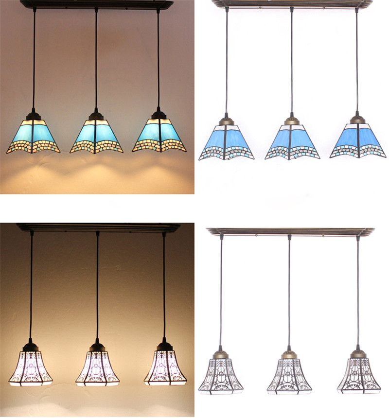 Tiffany 3 Lights Pendant Lamp Rectangle Base Stained Gl Suspension Flower Restaurant Kitchen Hotel Project