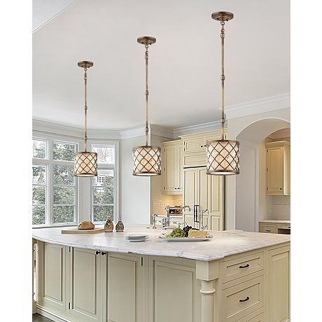 "Jeweled Golden Bronze 9"" Wide Mini Pendant Light  Mini Pendant Adorable Kitchen Pendant Lights Images Decorating Design"