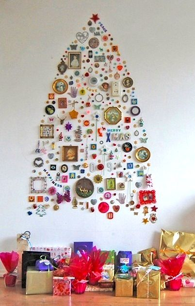 found object shaped christmas tree on the wall