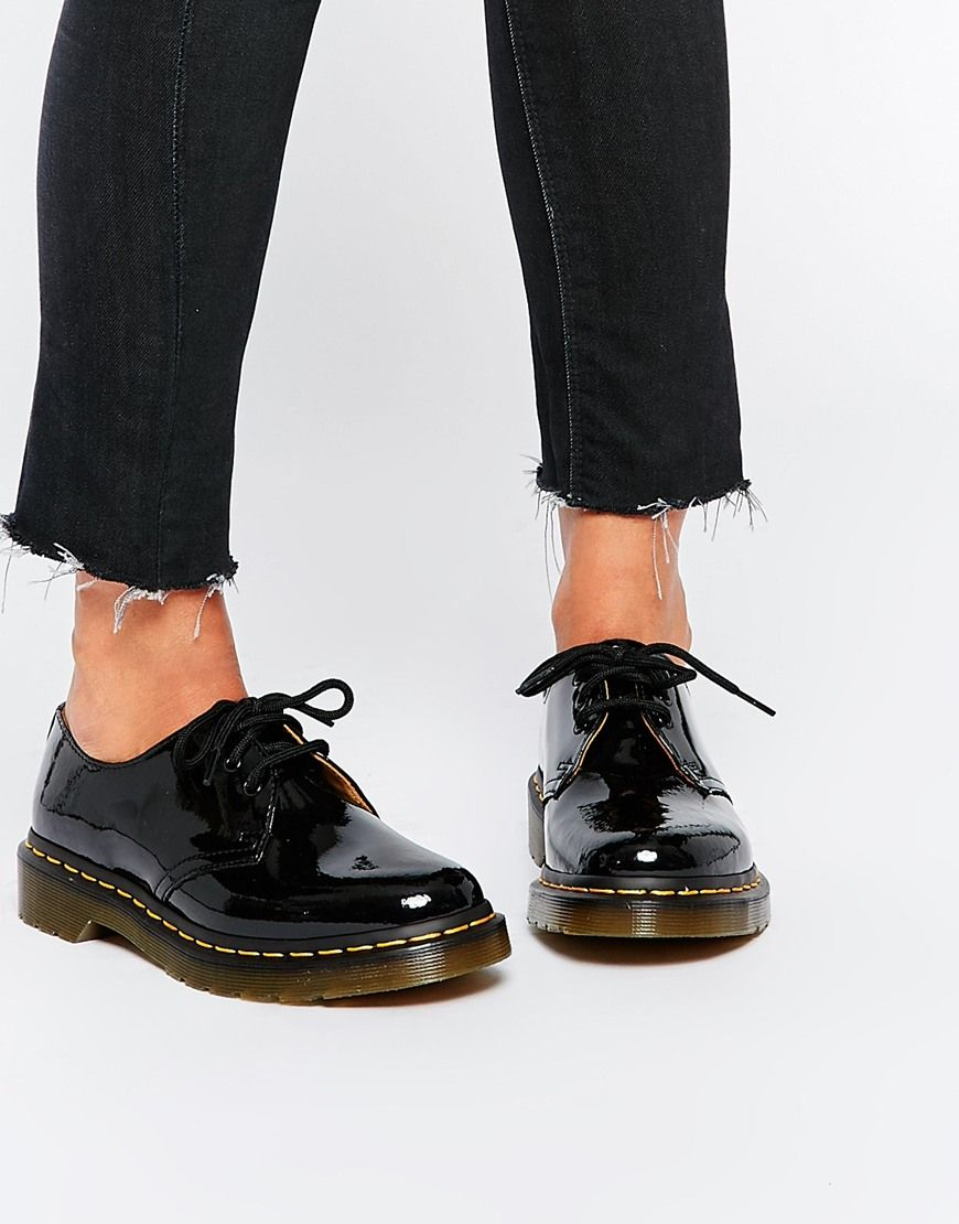 Image 1 of Dr Martens 1461 Classic Black Patent Flat Shoes f5dbd3cae81a
