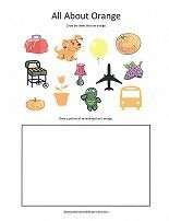 Worksheets for specific colors. Circle the objects of the correct color and draw something of the same color.