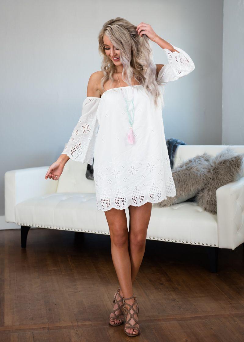 Off shoulder white eyelet lace dress modern vintage boutique