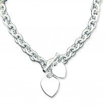 Sterling Silver Engraveable Heart Disc on Fancy Link Toggle Necklace 18 Inches