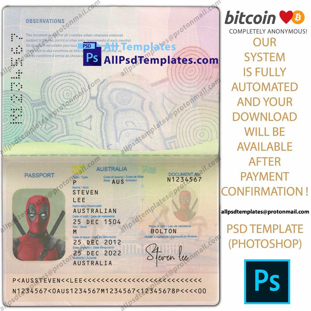 Australia Passport V2 Template In 2020 Psd Templates Templates Photoshop Template