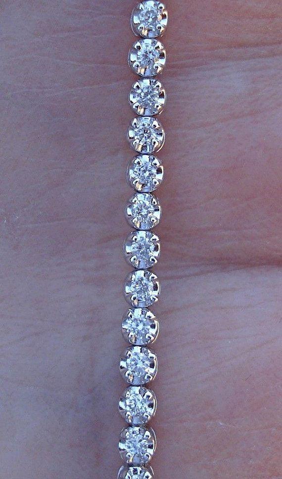 1 Carat Diamond Bracelet Tennis Bracelet 14k White Gold Etsy Tennis Bracelet Diamond Diamond Bracelet White Gold Bracelet