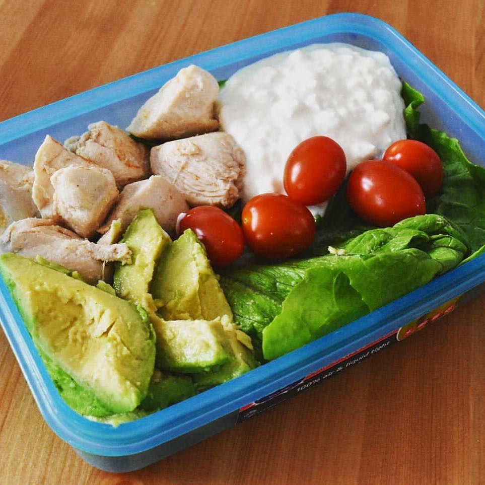 #healthy #foodblogger #foodie Great lunch inspiration.  Thanks for posting!  @peach_fitness Garlic Spiced Chicken Breast Cottage Cheese Avocado Lettuce Tomatos  Protein overload   Avocado great for healthy fats which your body can use as fuel.  #healthyeating #fitfood #prepmeals #fitfam #nomnomnom #salad