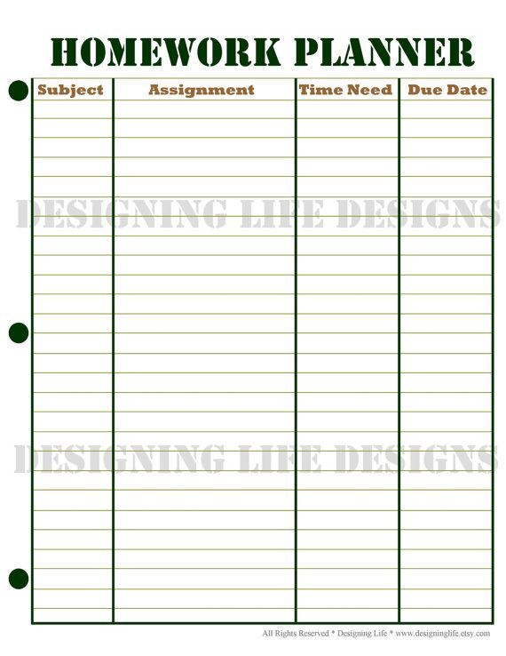 This Is A Free Weekly Homework Sheet Template To Help Keep Track