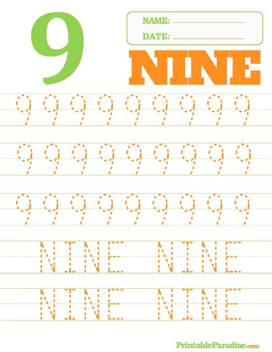 Printable Number 9 Tracing Worksheet Number Pinterest Tracing