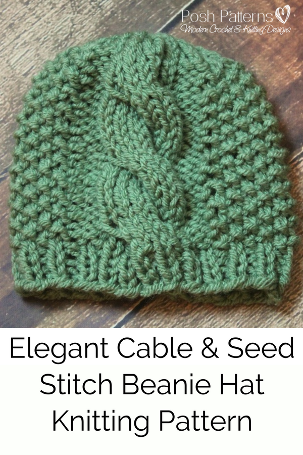 83091dc8a0e Knitting Pattern - This awesome knit cable hat pattern features an elegant  center cable and seed stitch accents on the side. Perfect for babies