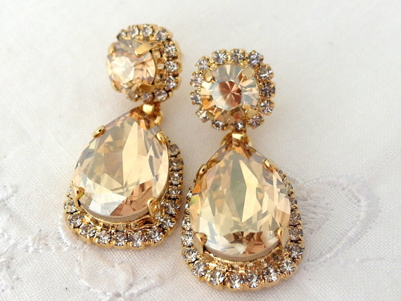 Champagne Chandelier Earrings Bridal By Eldortinajewelry Etsy
