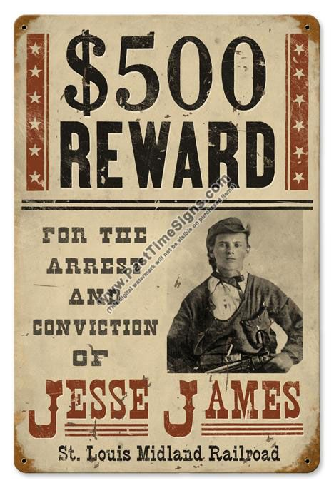 Jesse James Wanted Poster Vintage Metal Sign Western Pinterest - criminal wanted poster