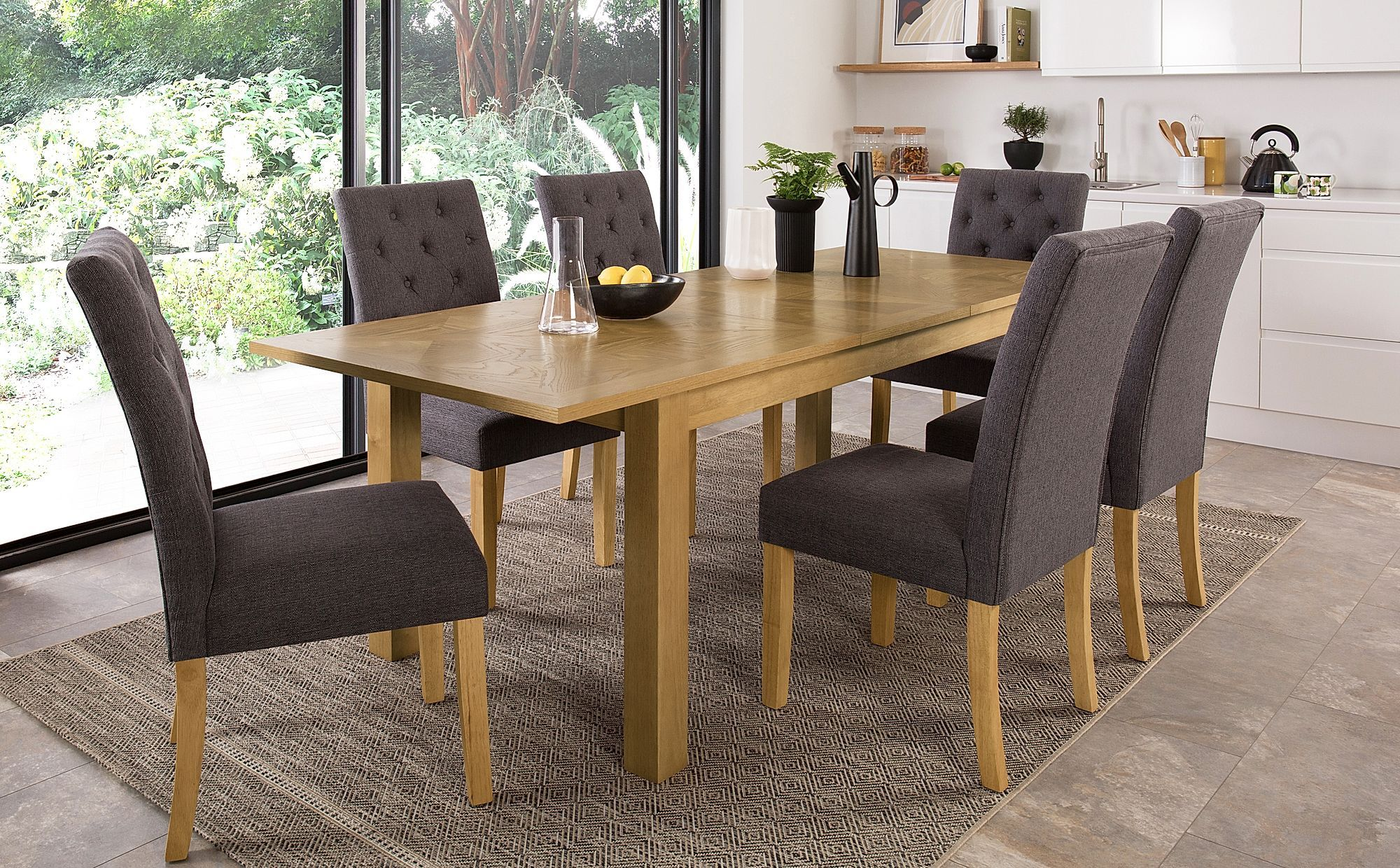 Madison Oak 180 230cm Extending Dining Table With 8 Hatfield