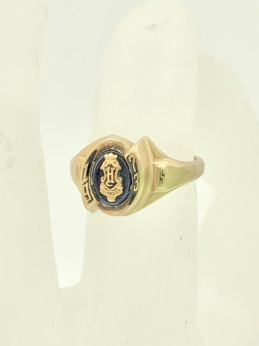 Vintage 10k Yellow Gold Blue Stone Jostens Womens Class Ring Blue Stone Yellow Gold Blue Gemstones