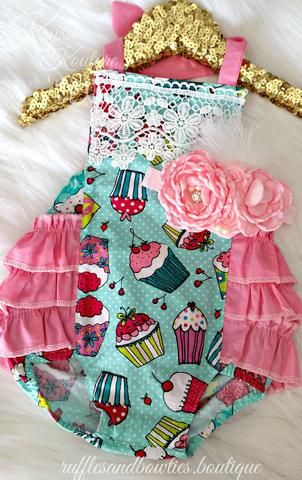 d6e4ac30691 HANDMADE Kryssi Kouture Hot Pink and Mint Cupcake Birthday Ruffle Romper - Lace  Baby Romper - Ruffle Butt Romper - Baby Girl Birthday Romper - Baby Girl ...
