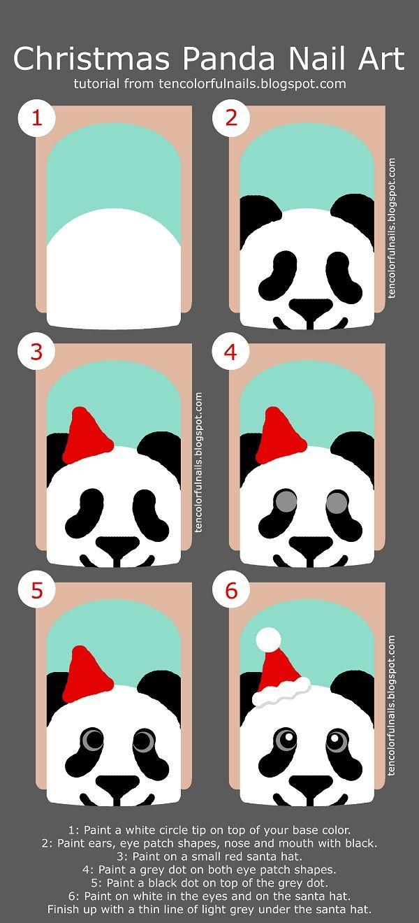 Ten Colorful Nails: Christmas Panda Nail Art + Tutorial | Nail Art ...