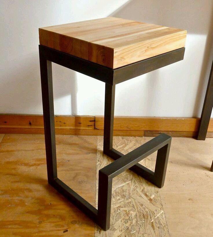 Banqueta en hierro y madera barra desayunador dise o for Disenos de bar de madera