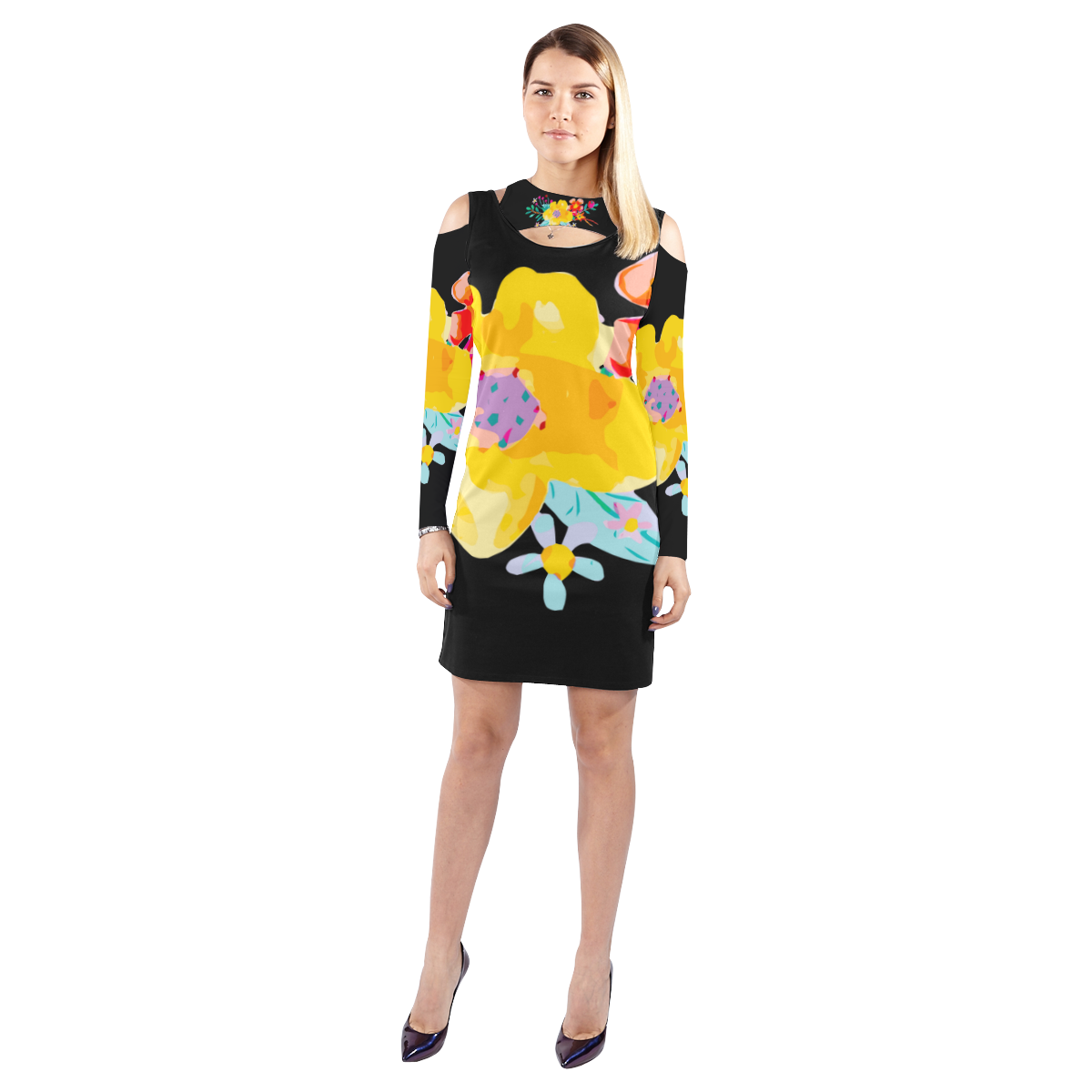 Cute yellow watercolor floral cold shoulder long sleeve dress model