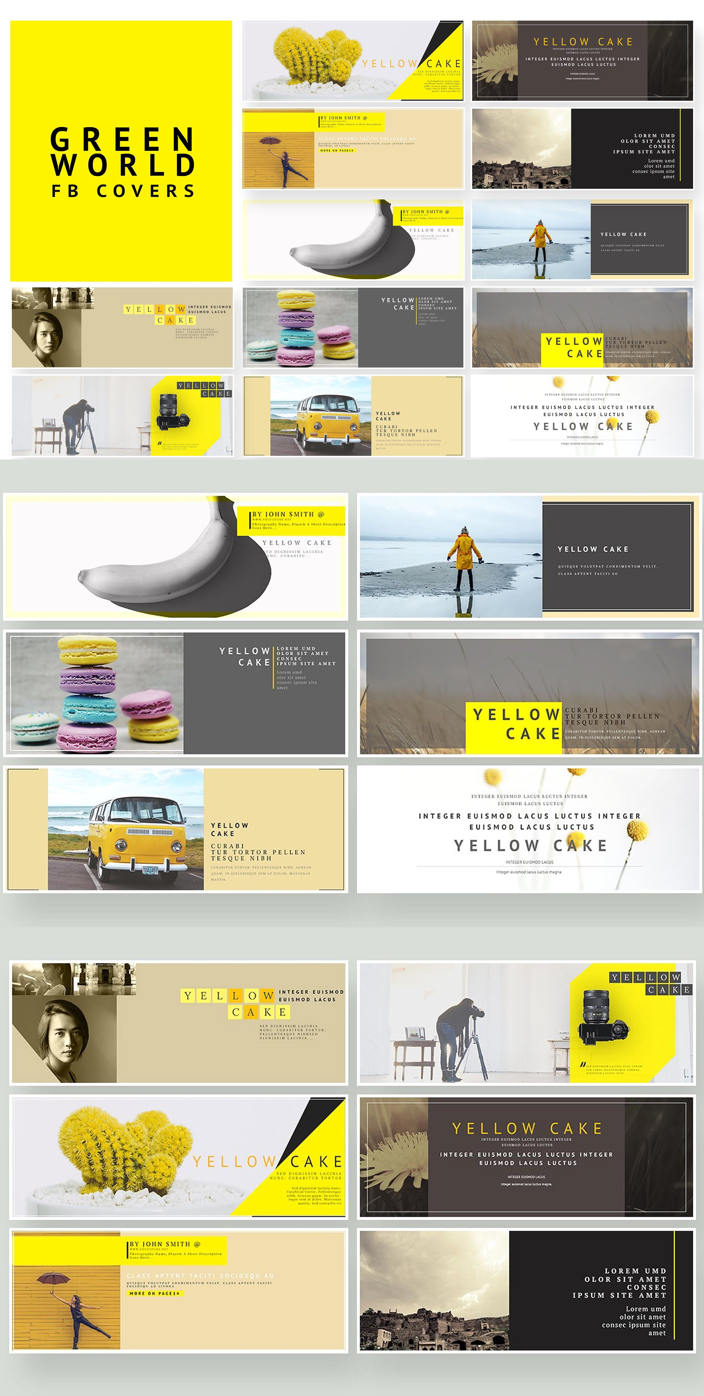 yellow cake fb cover pack templates psd social media templates
