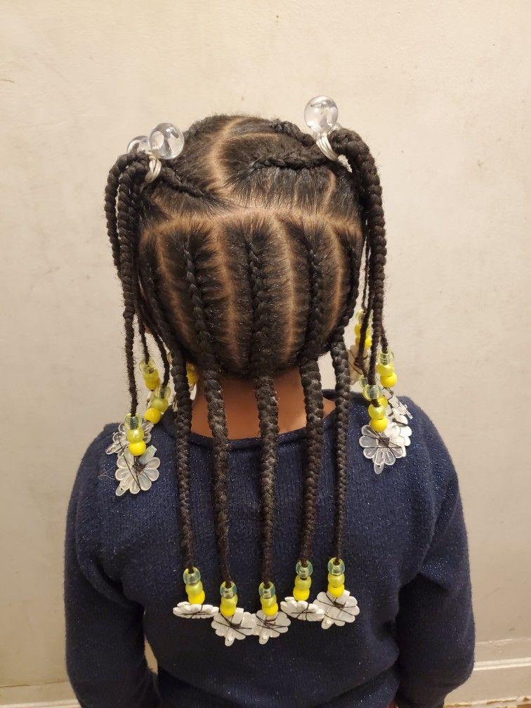 Yellow White Beads Little Kids Braids And Beads Kids Hairstyles Braids With Beads Hair Styles