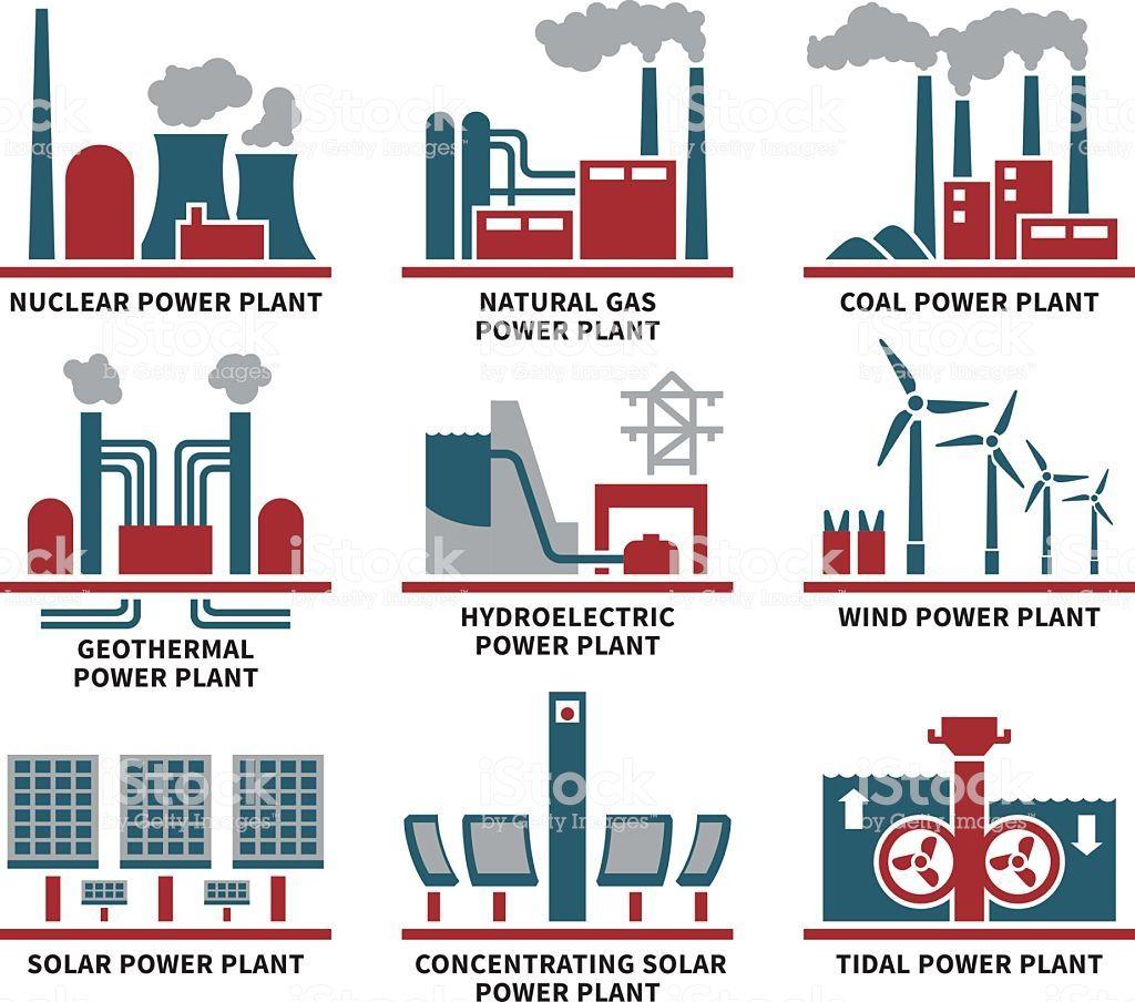 Power Plant Types Icon Set Stock Illustration Download Image Now