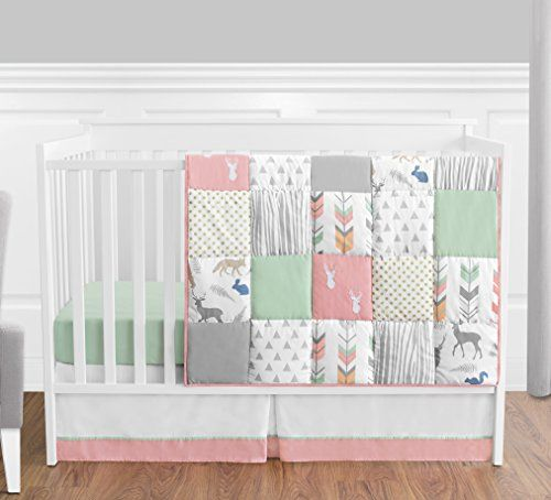 Coral Mint And Grey Woodsy Deer Girls Baby Bedding 4 Piece Crib