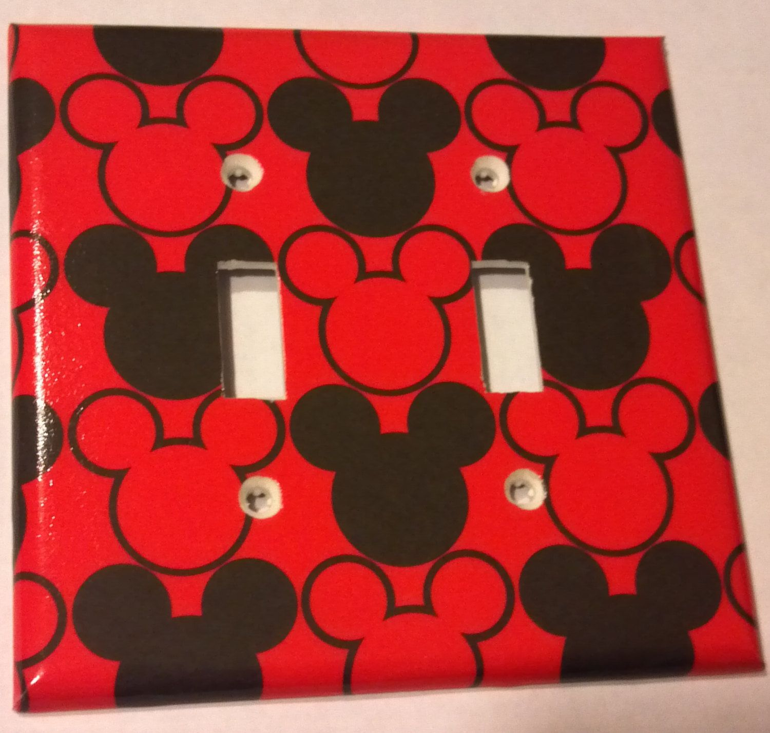 black and red mickey mouse print double toggle light switch plate