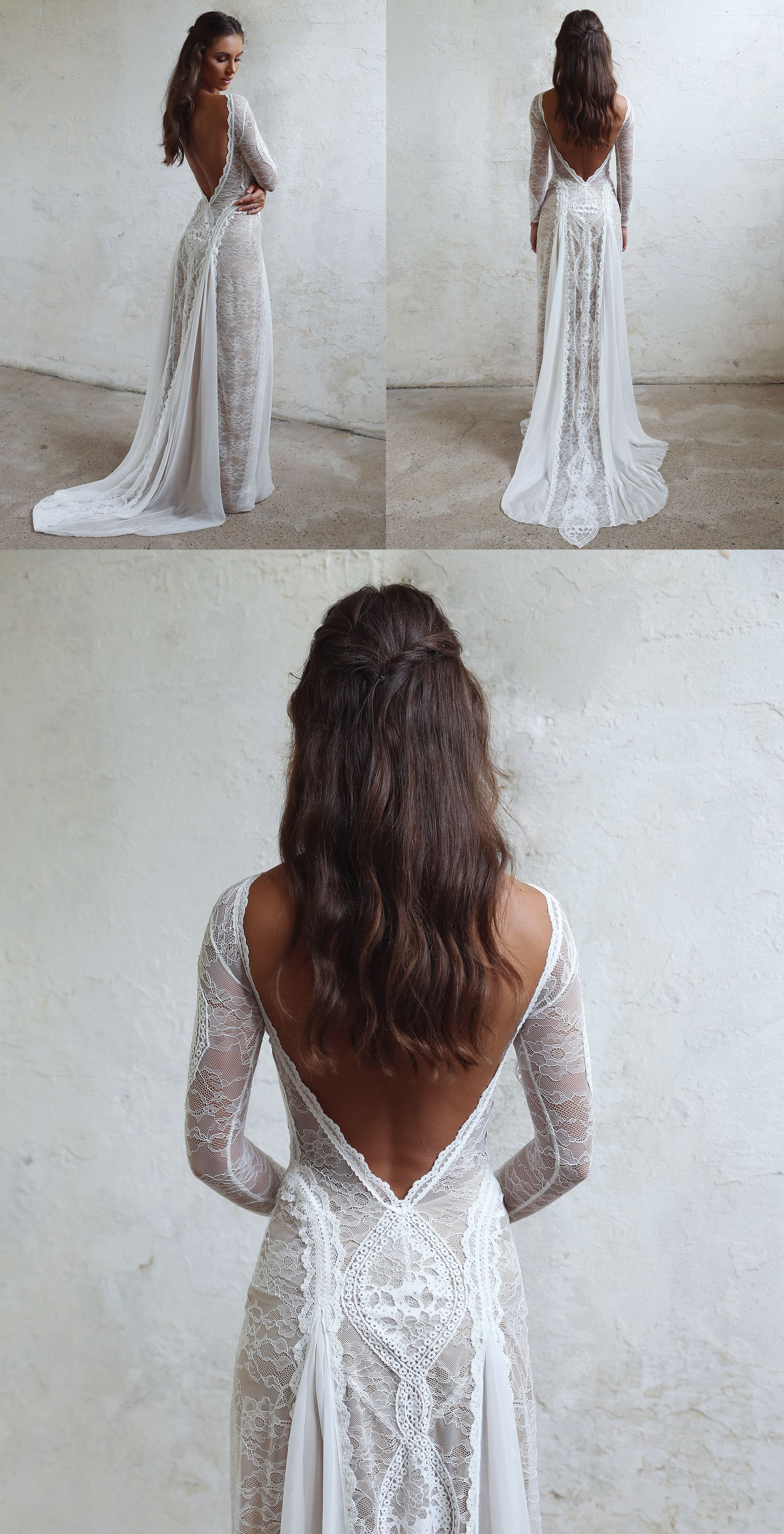 Inca Gown Low Back Wedding Dress Grace Loves Lace Ivory Lace Wedding Dress Wedding Dresses Lace Beach Wedding Dress