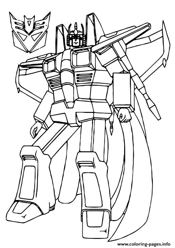 Print Transformers Star Scream A4 Coloring Pages Coloring Sheets