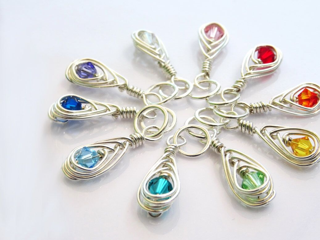 Silver Rainbow Knitting Stitch Markers - Handmade in Sterling Silver ...