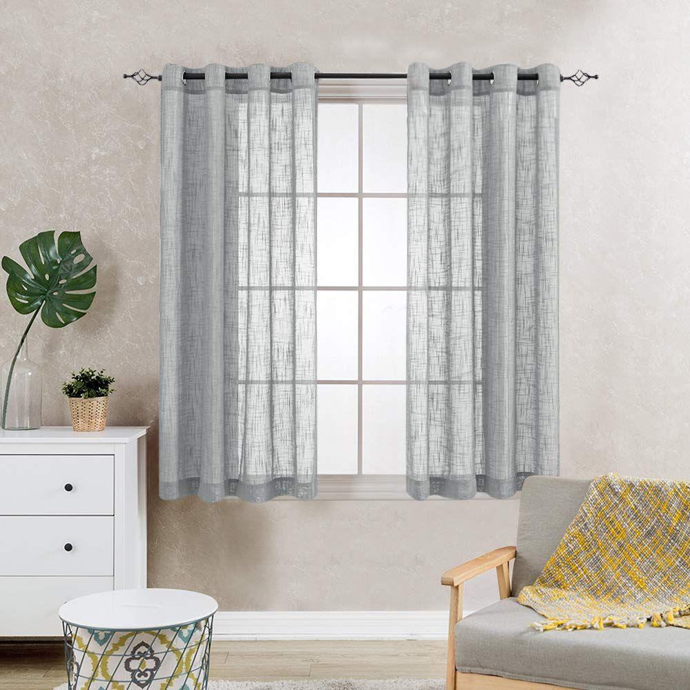 Linen Textured Gray Sheer Curtains For Living Room Bedroom Open