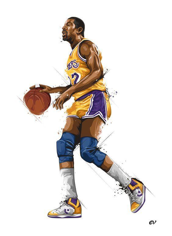 Magic Johnson Picture Nba Art Nba Basketball Art Magic Johnson
